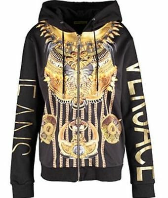 VERSACE JEANS Black & Gold Print Hoody With Front Zip - UK S