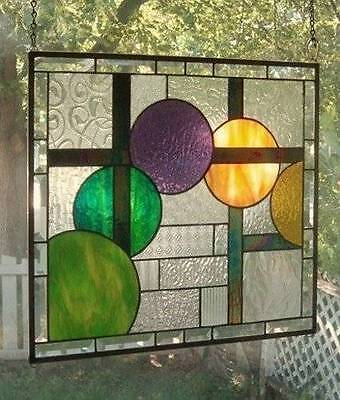 **SPHERICAL PURSUIT**Stained Glass Window Panel (Signed and Dated)