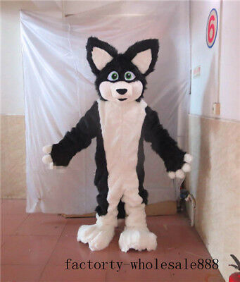 Black Husky Dog Fox Mascot Costume Adults Size Animal Party Long Fur Parade - Black Parade Kostüm