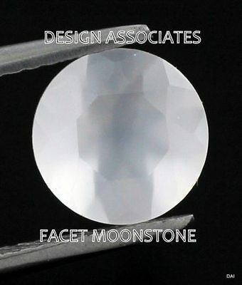 Natural Rainbow Moonstone Faceted Round Cut Calibrated 8 MM White Color Gemstone