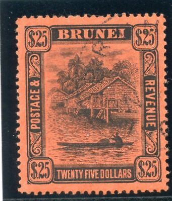 Brunei 1910 KEVII $25 black/red (Plate I) very fine used. SG 48. Sc 39.