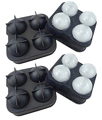 2 X Whiskey Ice Cube Ball Maker Mold Bailiwick Mould Party Tray Round Bar Silicone