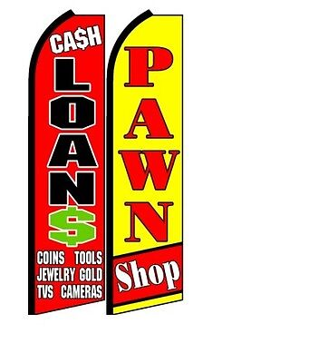 Cash Loans Pawn Shop  King Size Polyester Swooper Flag Pk Of 2