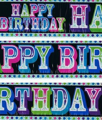 HAPPY BIRTHDAY Banner Black holo background Party Decoration 2.6m Sash