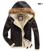 Mens Leather Jacket Fur Collar