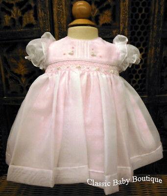 NWT Will'beth Pink Sheer Overlay Pintuck Smocked Dress Newborn Baby Girls Size 0
