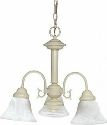 Nuvo 60-188 - Textured White Chandelier with Alabaster Glass Bell Shades Brass Alabaster White Glass
