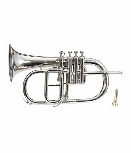 NICKEL PLATED Bb FLAT 4 VALVE FLUGEL HORN +FREE HARD CASE+MOUTHIPICE