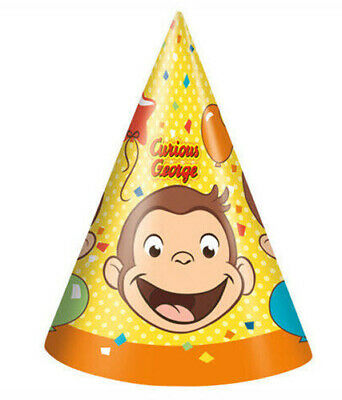 Curious George Party Supplies (CURIOUS GEORGE HAPPY BIRTHDAY party PAPER CONE HATS 8 favors)