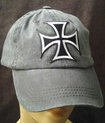 Iron Cross Hat (Iron Cross Hat Light Black Pigmented Dyed Unstructured Baseball Cap Biker Cross)