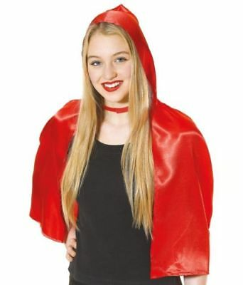 Adult Ladies Short Little Red Riding Hood Cape Hood Cloak Halloween Fancy Dress