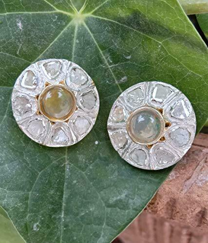 925 Silver Polki Diamond Earrings Moonstone Antique Victorian Style Stud Jewelry