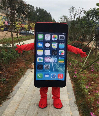 Mobile Advertising Cell Phone Mascot Costume suits red Adults size add logo - Cell Phone Costume
