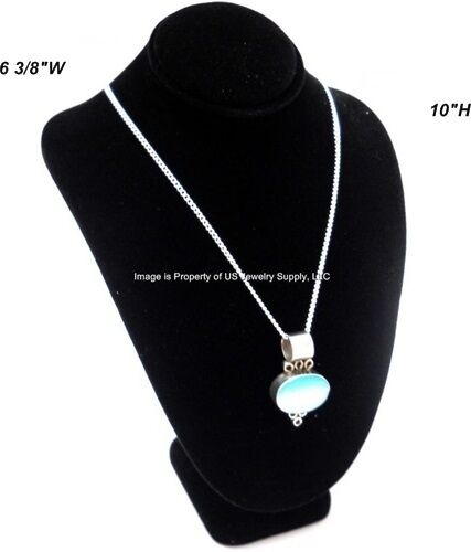 """Black Necklace Pendant Chain Display Bust  6 3/8""""W x 4 1/2""""D x 10""""H"""