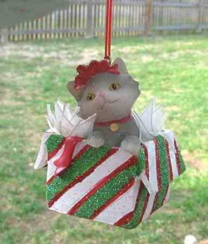 CLEARANCE..Kitten Package GRAY Cat in Package Resin Xmas Ornament