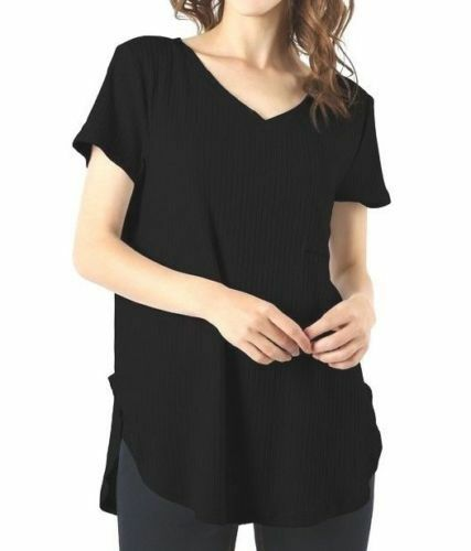 Zenana Ribbed V-Neck Top With Chest Pocket & Scoop Hem Loose