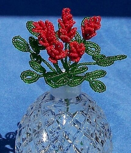 Vintage French Glass Beaded Red Small Sage Flower Bouquet