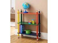 Pencil Bookcase Shelf Solid Wood Multi Colour Children Storage Toys DVD Books
