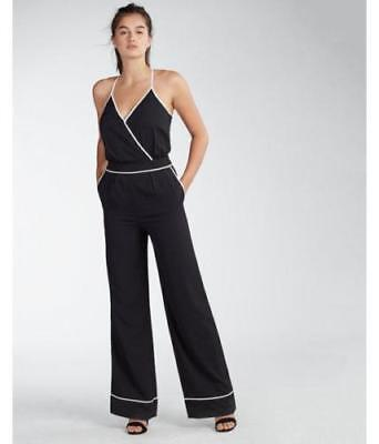 nwt EXPRESS r29 pick piped dress wide leg jumpsuit VACATION! 0 XS BLACK