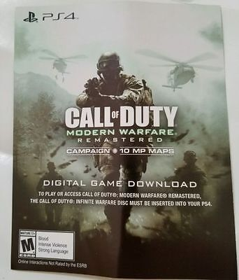 CALL OF DUTY MODERN WARFARE REMASTERED * PS4 * DOWNLOAD VOUCHER