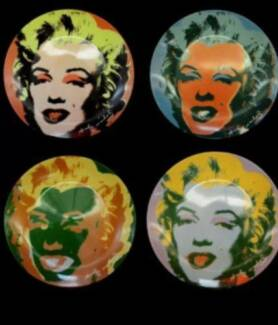 FOUR Vintage ANDY WARHOL Ceramic Plates POP ART Marilyn Monroe