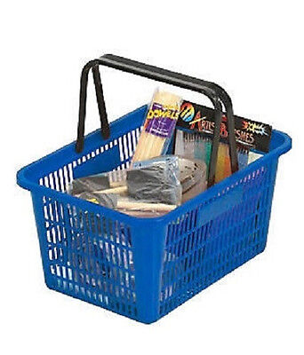 Shopping Baskets Set Of 12 Blue Durable Break Resistant Plastic W Metal Stand