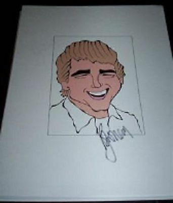 "RYAN ONEAL Oscar Best Actor in ""Love Story"" Signed 8.5x11 Cartoon Autograph b"