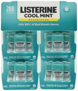 Listerine Cool Mint Pocketpaks Breath Strips 24 Count 12 PK - NEW