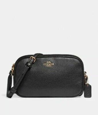 New Authentic COACH F30259 Leather CROSSBODY POUCH Messenger Shoulder Bag Black