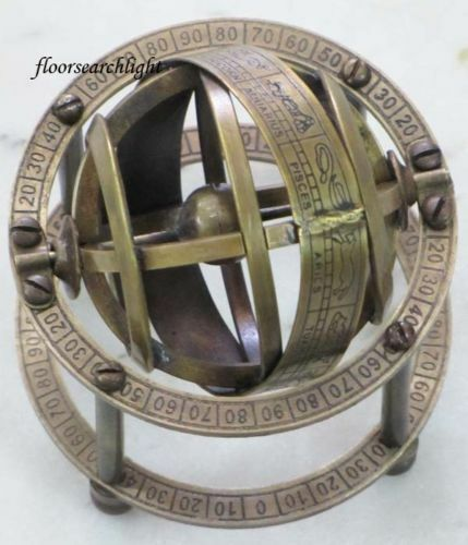 Antique Collectible Armillary Zodiac Sphere Nautical Globe Table Top 3.5 inch Ht