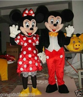 New Adult Mickey & Minnie Couple Mouse Mascot Costume Fancy Party Dress - Mickey Minnie Couple Costumes