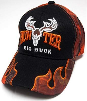Big Buck Hunter Black   Orange Camo Flames Hunting Hat Cap Adult Men s  (Style 2) f86f9603d