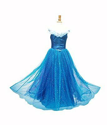 Princess Cinderella Blue Dress Evening Gown Costume Halloween Women Adult Sz - Halloween Gown