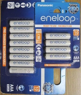 Panasonic Eneloop AAA NiMH Rechargeable 12 Pk batteries 2100 cycle  for sale  Shipping to India
