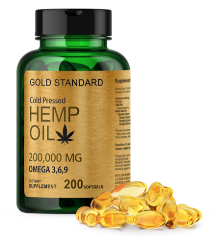 2X Hemp Oil 200 Softgels (400ct Total) 200,000 mg Per Bottle Max Potency Non-GMO