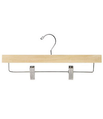 Wooden Skirt And Pant Hanger 14 Inches With Silver Hooks - Case Of 50