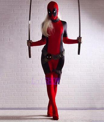 Lady Deadpool Costume Halloween X-Man Spandex Lycra/ElasTights Superhero Cosplay (Superhero Halloween Costumes For Women)
