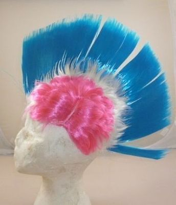 Mohawk Perücke für Abendkleid - pink, weiß, blau - One Size (HW122)  ()