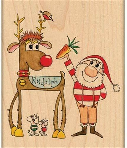 Penny Black CHRISTMAS FRIENDS Red Rubber Wood Stamp HTF Sant