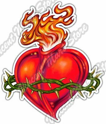 - Sacred Heart Crown of Thorns Fire Love Car Bumper Vinyl Sticker Decal 4