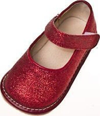Toddler Red Sparkle Shoes (Girl's Toddler Red Leather Sparkle Mary Jane Squeaky Shoes Sizes 1 to)