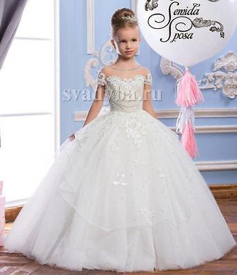 Princess Communion Dresses (Vintage Pearls Princess First Communion Dress for Girls Flower Girls Dress)