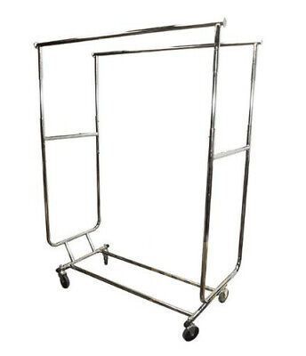 Retail Double Bar Clothes Display Rack Fixture Garment Hanger W Wheels