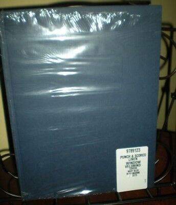 Gbc Navy Blue Linen Velobind Punched Covers With Windows 7 Sets