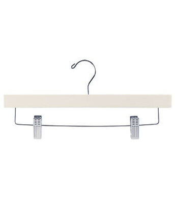 Wooden Skirt Pant Hanger In Ivory Finish 14 Inches With Silver Hook - Pack Of 50
