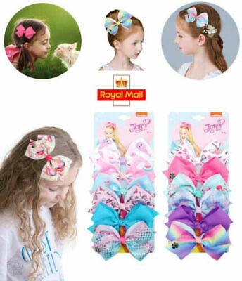 JoJo Siwa 5 Inch Hair Bow Clips 6 X Set Birthday Unicorn Party Gift Kids Girls