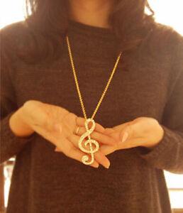 collier pierres de Rhin/strass en clé de sol dorée musicale 71cm West Island Greater Montréal image 6