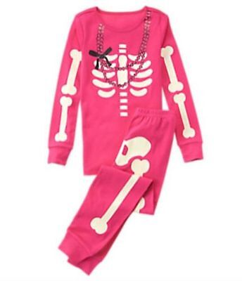 NWT Gymboree Skeleton Costume Glow-in-the-Dark Gymmies Sleep Set Pajamas 8 10 12 - Skeleton Costume Glow In The Dark