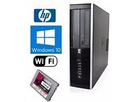 WINDOWS 7 HP PRO TOWER DESKTOP PC INTEL CORE i3 4GB DDR3 128SSD DVDRW HDD WOW DEAL