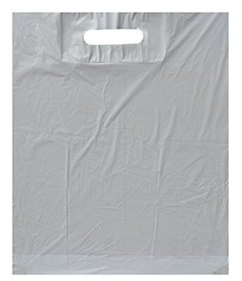 - White Patch Handle Carrier Plastic Bags for Gift Retail Party Shopping 10x12+4